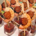 shrimp and spicy sausage skewer