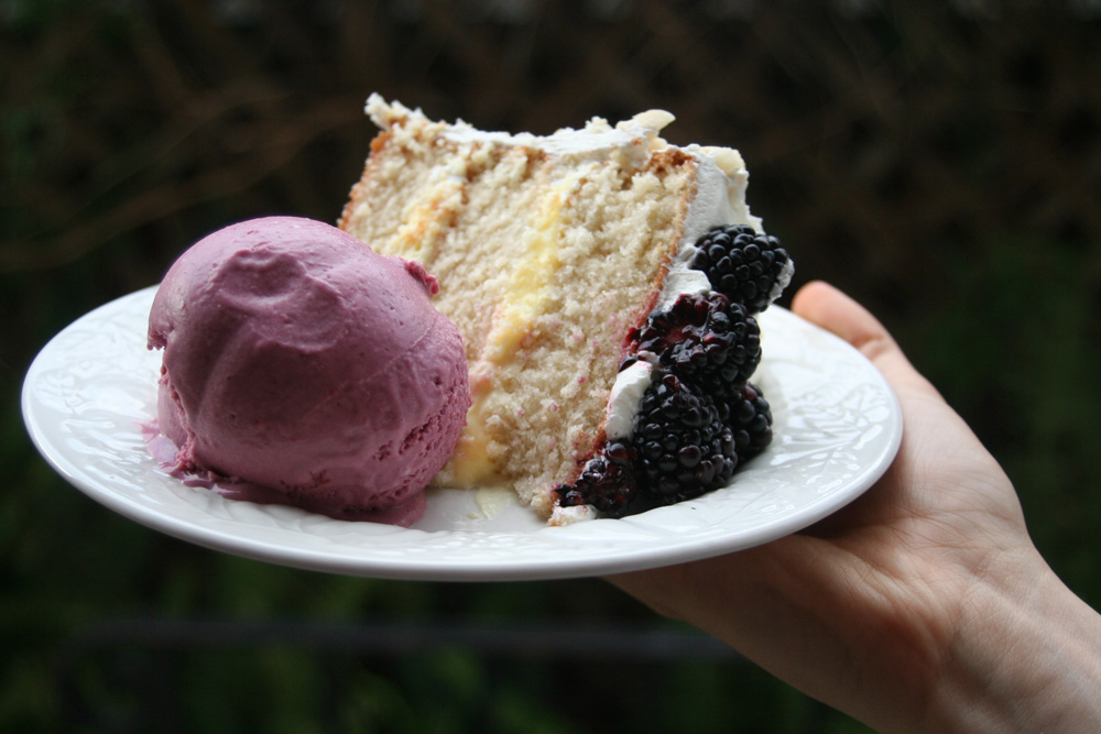 Macadamic Cake with Lemon Cream Filling and Blackberry Ice Cream