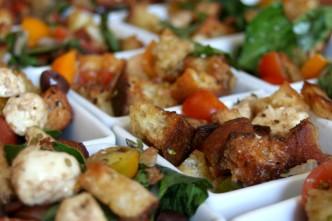 Heirloom Tomato Panzanella with Kalamata Olives and Fresh Mozzarella