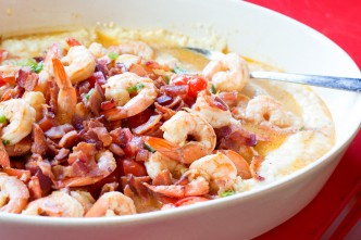 shrimp and grits with coconut milk and bacon