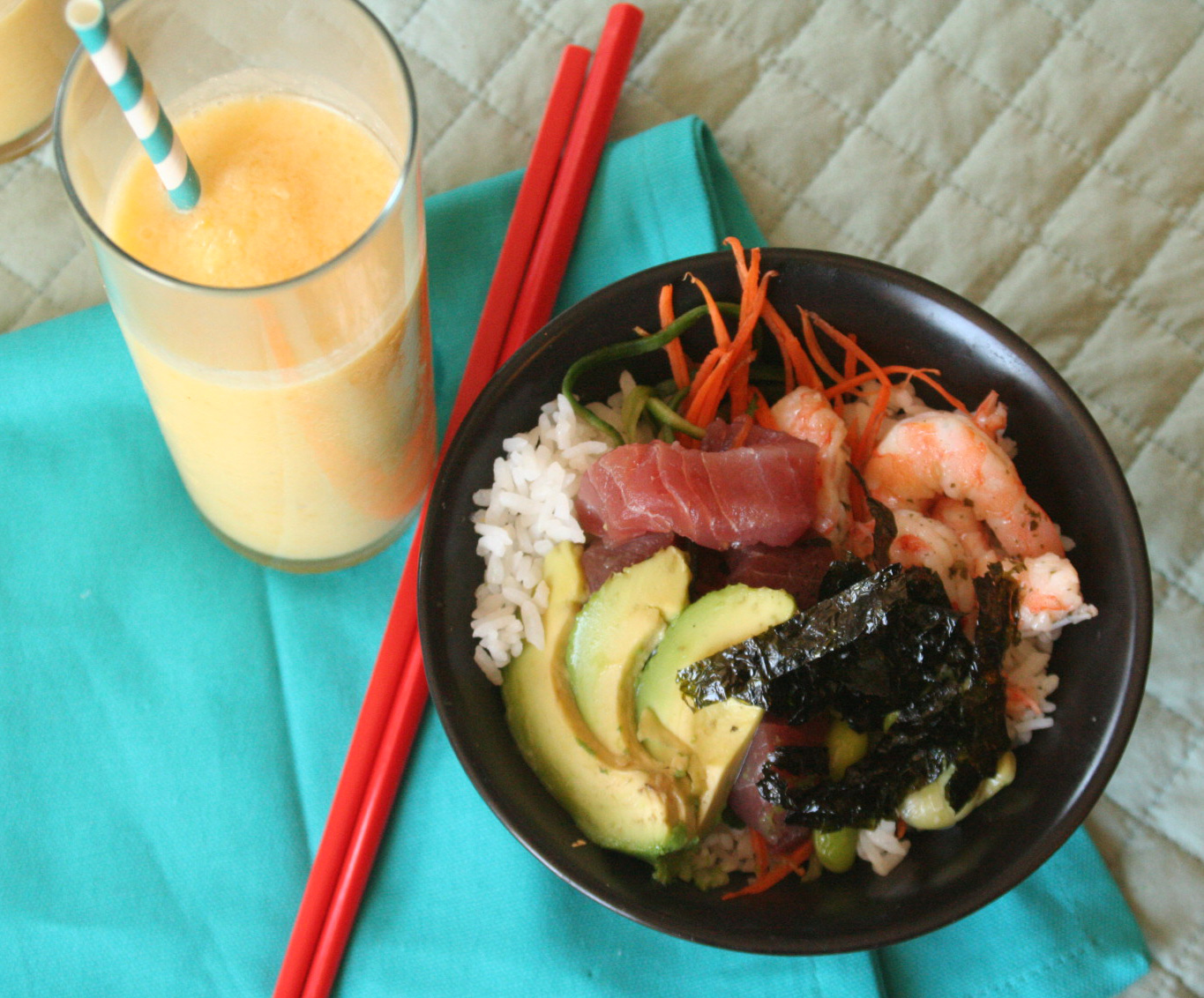 Sushi Salad and Mango Pineapple Coconut Slush for a Gluten Free Picnic