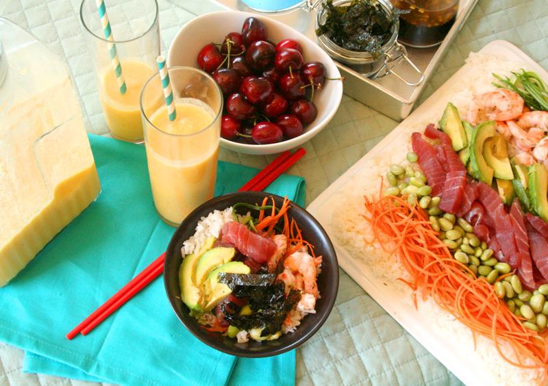 Sushi Salad and Mango Pineapple Coconut Slush for a Gluten Free Picnic