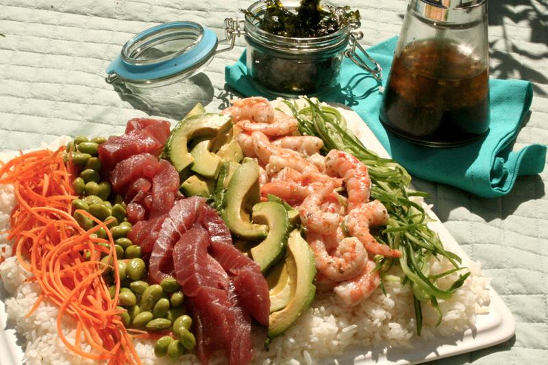Sushi Salad with Lemon Wasabi Dressing