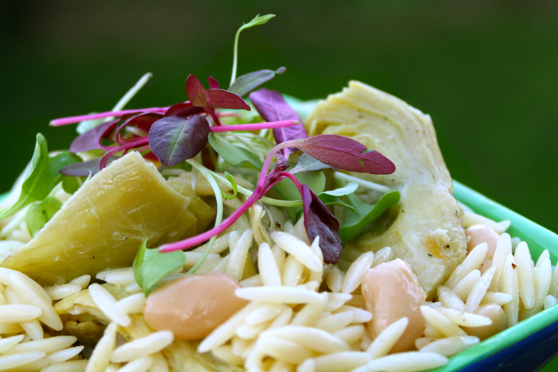 Lemon Orzo Salad with Artichokes and White Beans