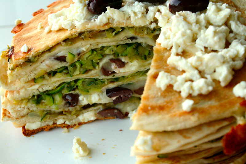 Zucchini, Feta, and Kalamata Olive Quesadilla Stack