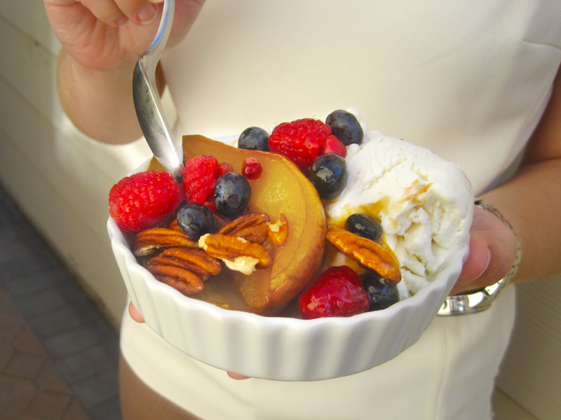 Maple Roasted Pears with Berries, Pecans, and Fresh Vanilla Frozen Yogurt