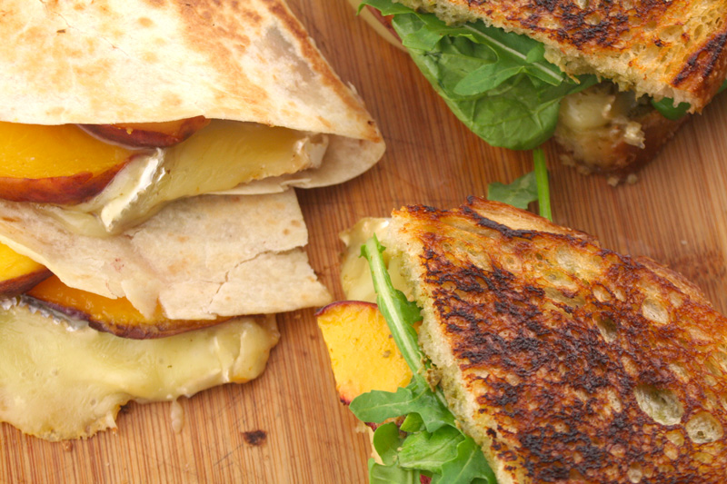 Peach and Brie Panini and Quesadillas