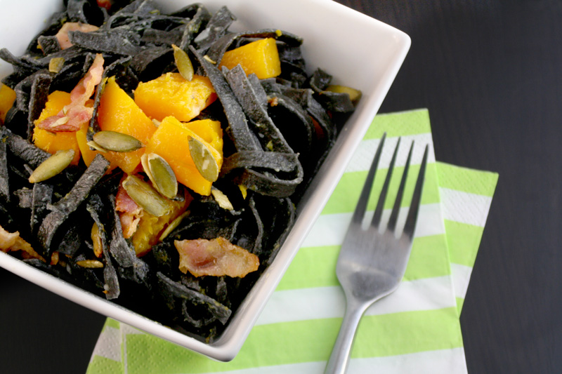 Squid Ink Carbonara with Bacon, Butternut Squash, and Pepitas for Halloween