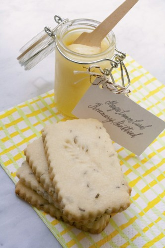 Meyer Lemon Curd with Rosemary Shortbread Cookies