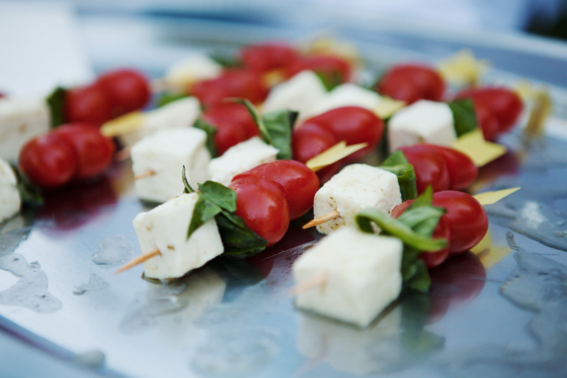 Tomato Heart Skewers with Fresh Mozzarella and Basil