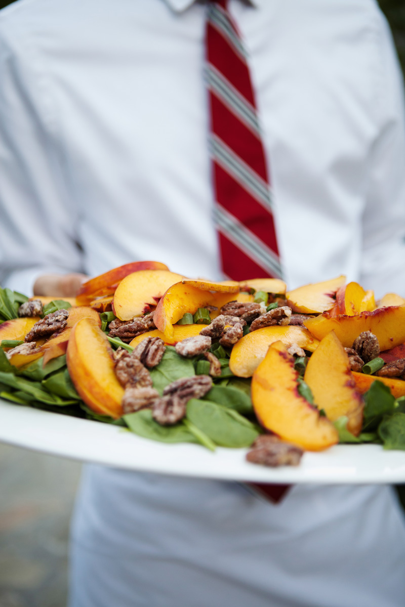 Baby Spinach Salad with Fresh Peaches, Scallions, and Candied Pecans