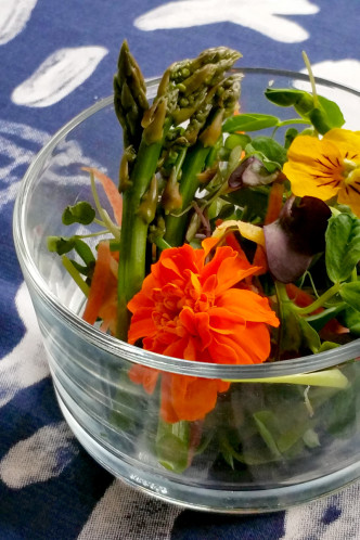 Mini Spring Salads with Baby Asparagus Tips, Edible Flowers, and Poppy Seed Dressing